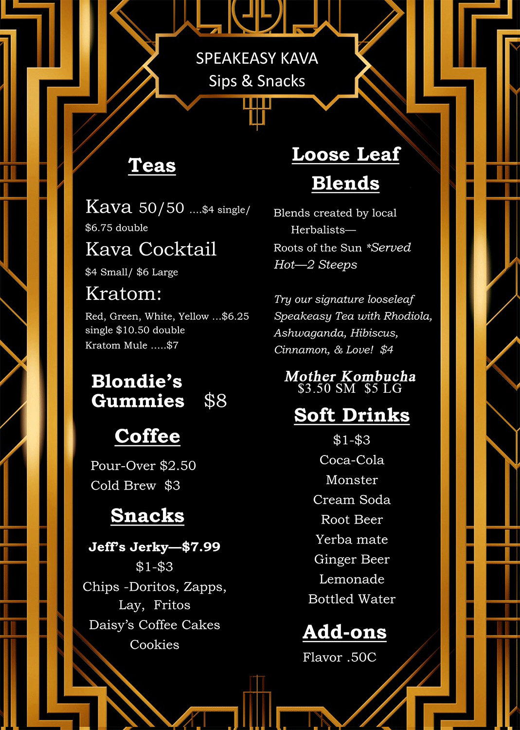 speakeasy kava tea bar menu